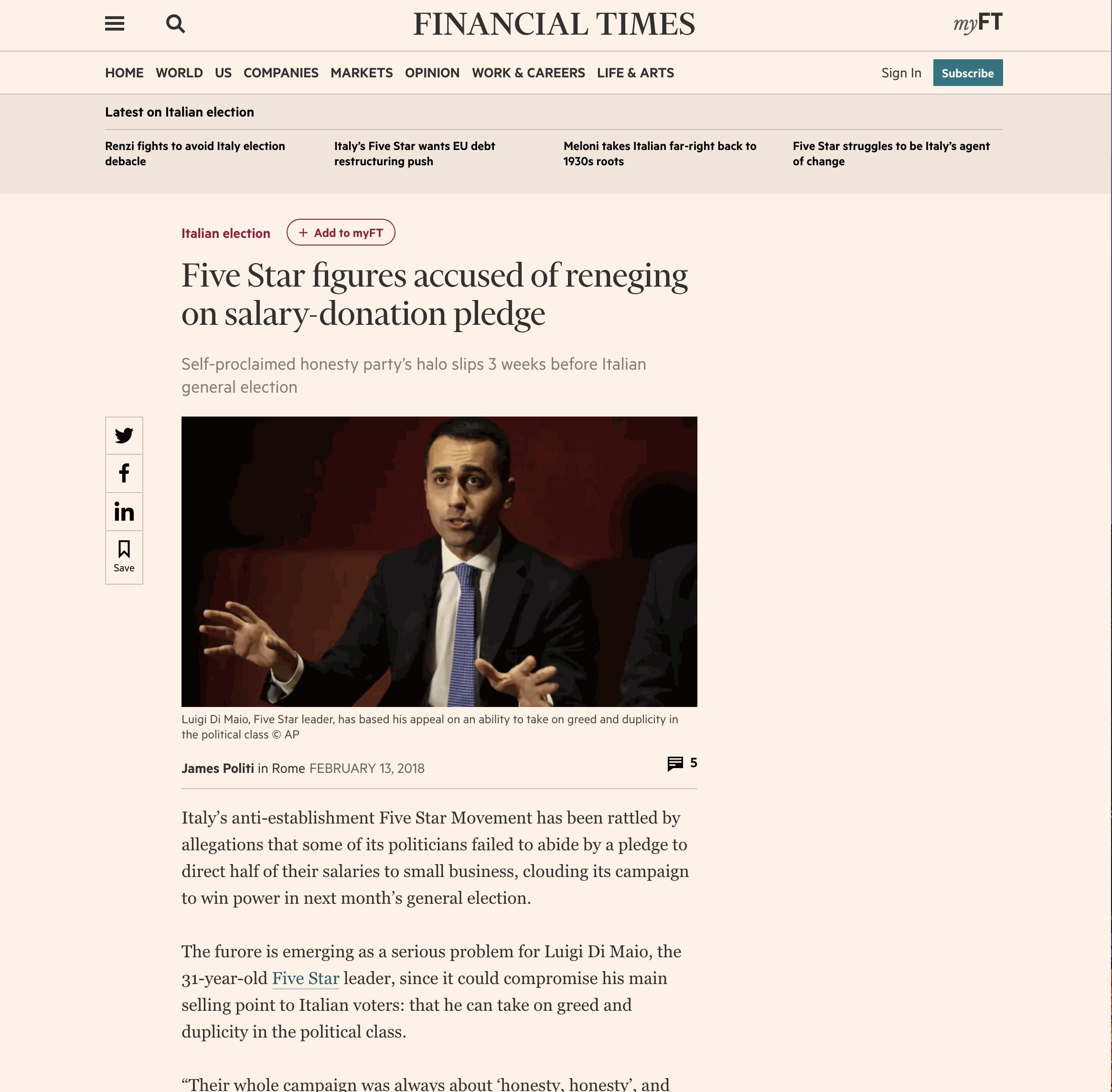 Rimborsopoli: le inchieste sul M5S delle Iene fanno il giro (dei giornali) del mondo