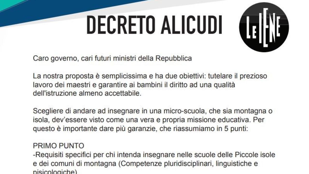 Il decreto delle Iene per la scuola di Alicudi
