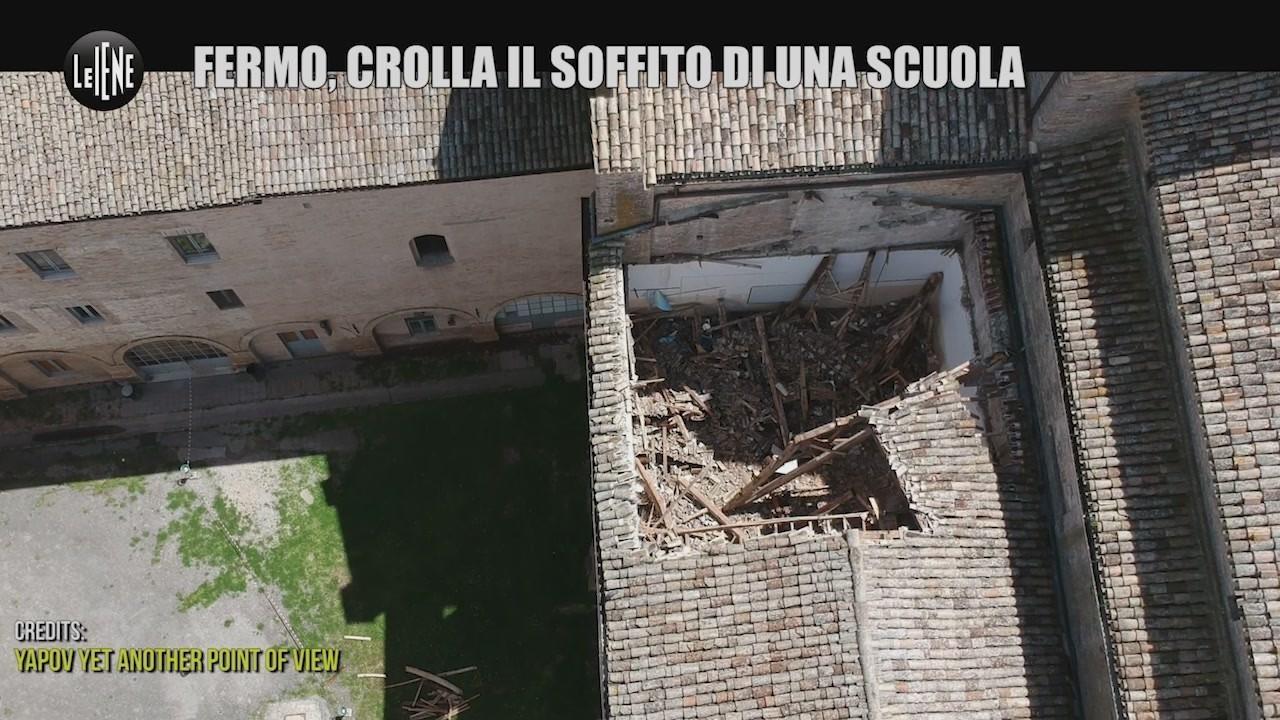crollo tetto scuola montani fermo video