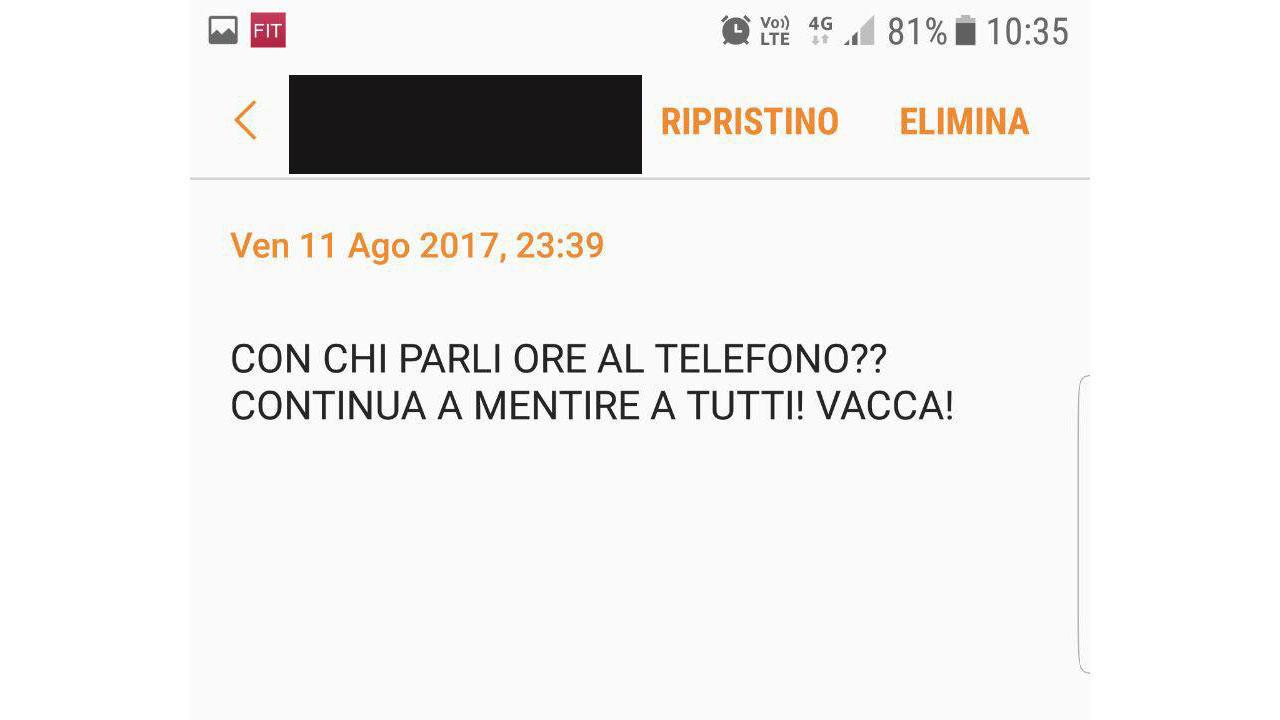 stalking Ljuba Lombardi Firenze messaggi stalker fermato