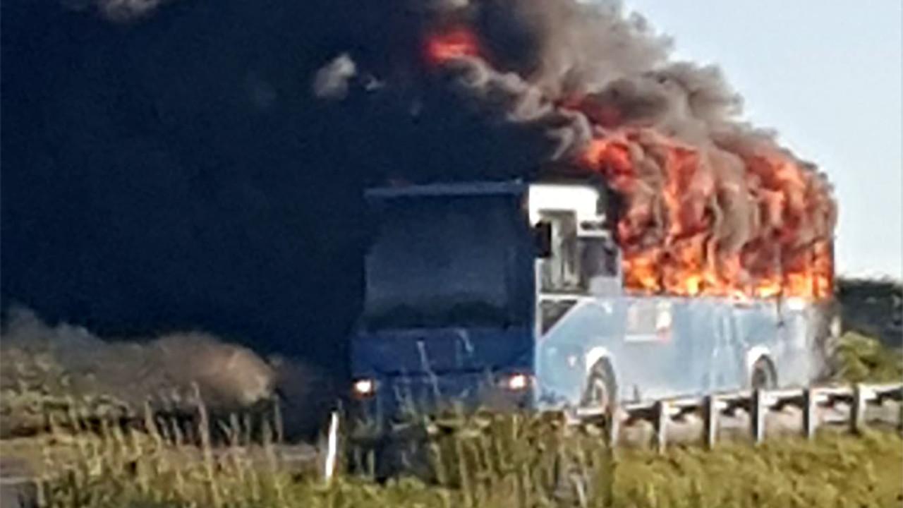 Autobus in fiamme della Autolinee Trasporti Molise: le foto