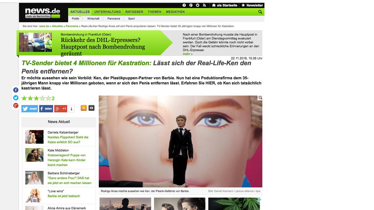 Lo scherzo al Ken umano sui giornali di tutto il mondo
