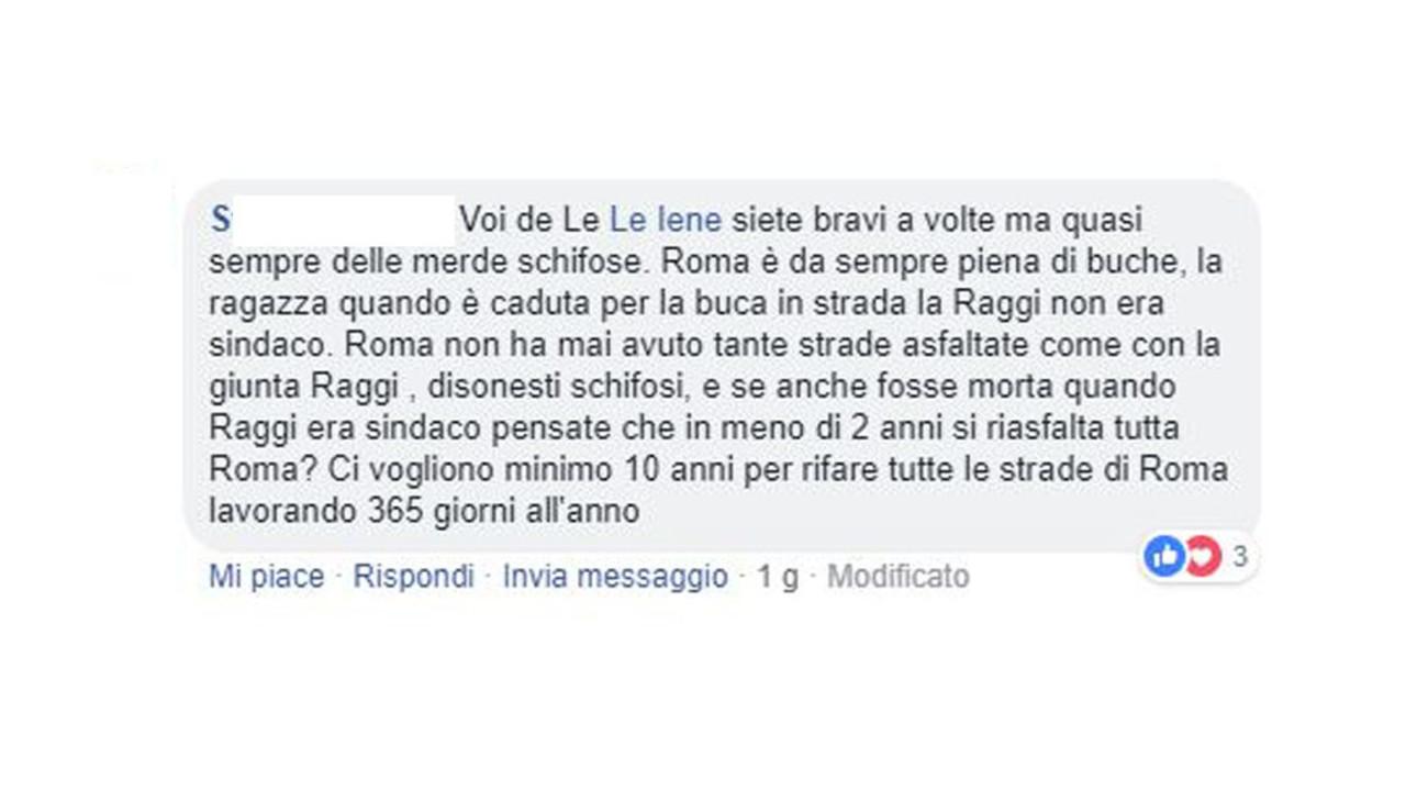 Buche a Roma, i commenti degli hater di Elena