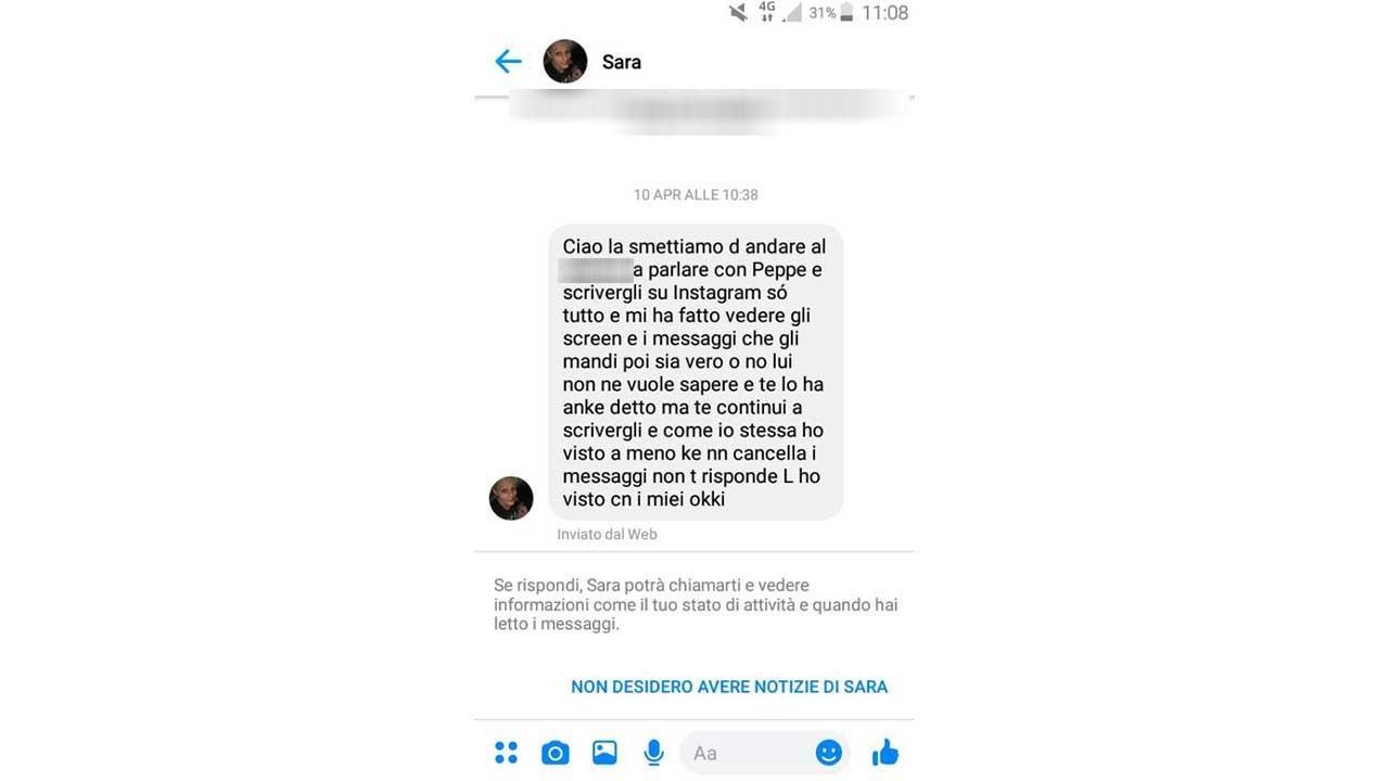 stalking messaggi sara giuseppe arianna