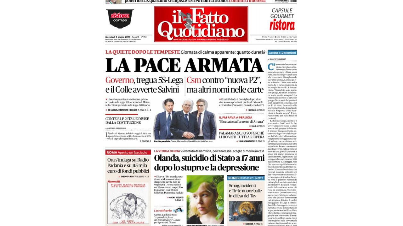 prime pagine giornali notizia eutanasia noa