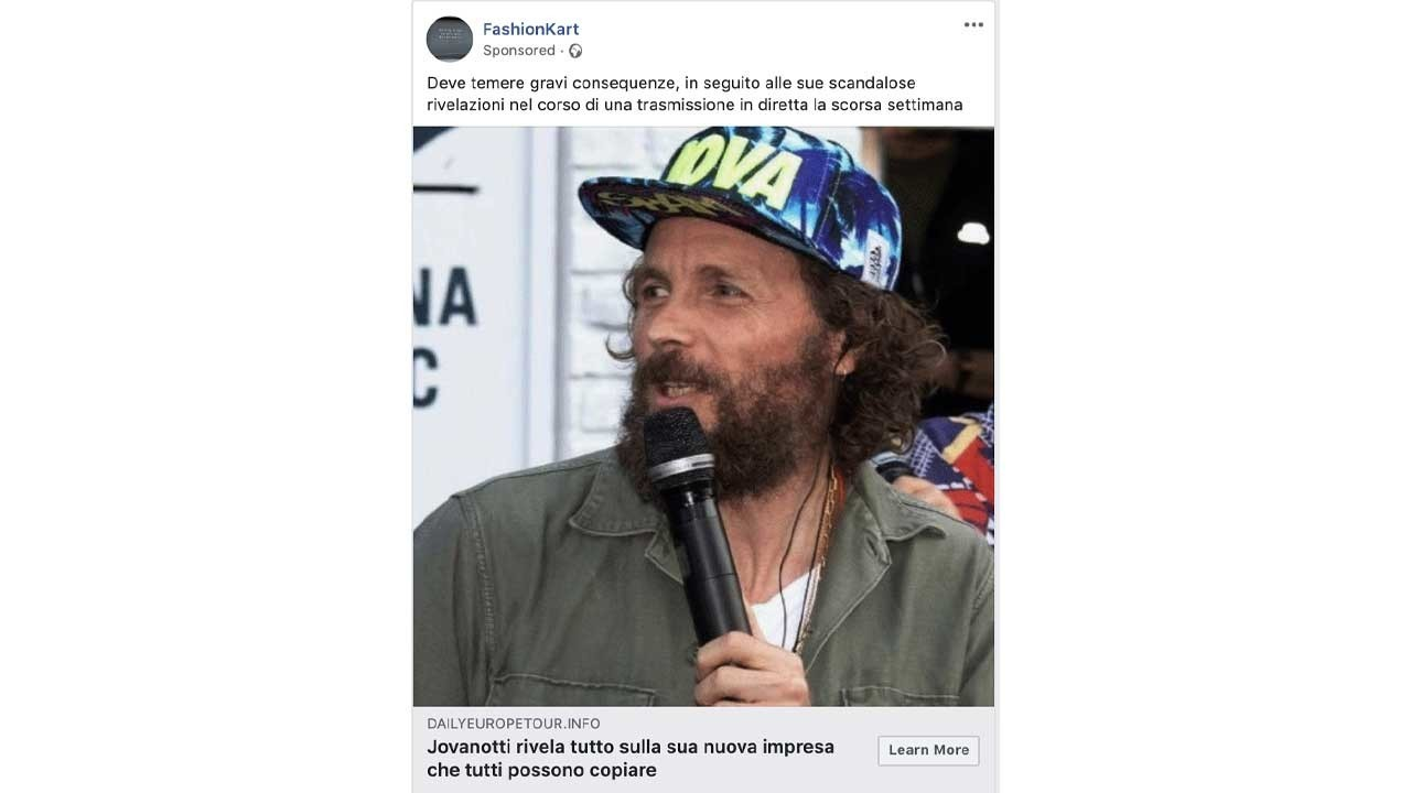 Clicchi sulla foto di Jovanotti e ti rubano i dati: i post