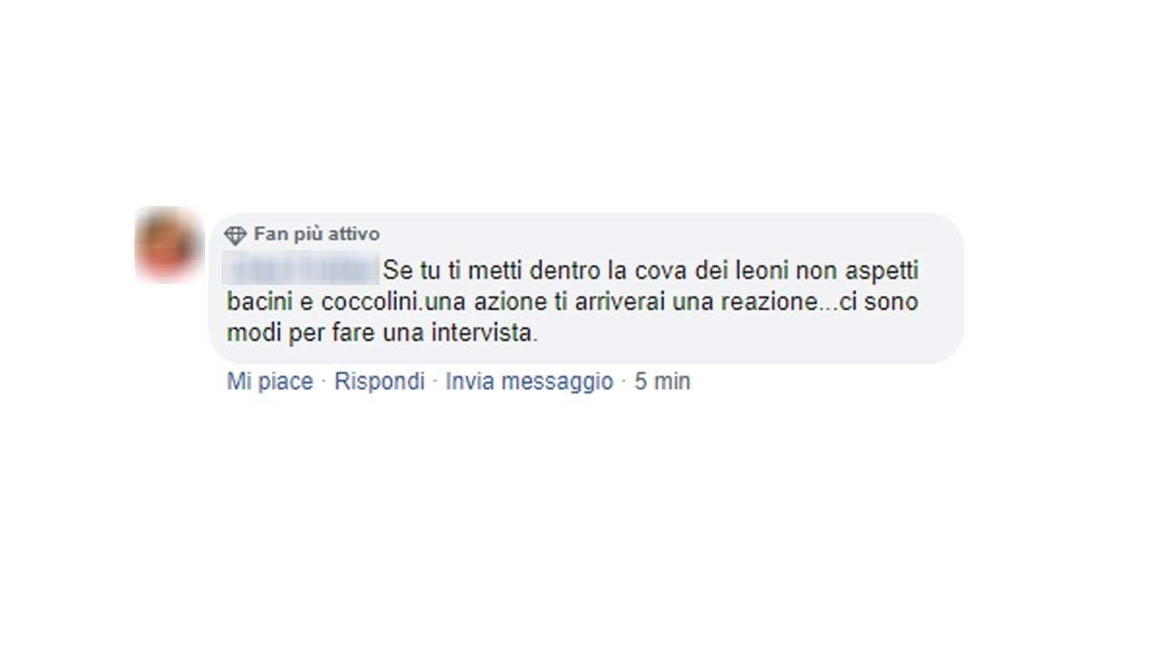 screen commenti contro Filippo Roma