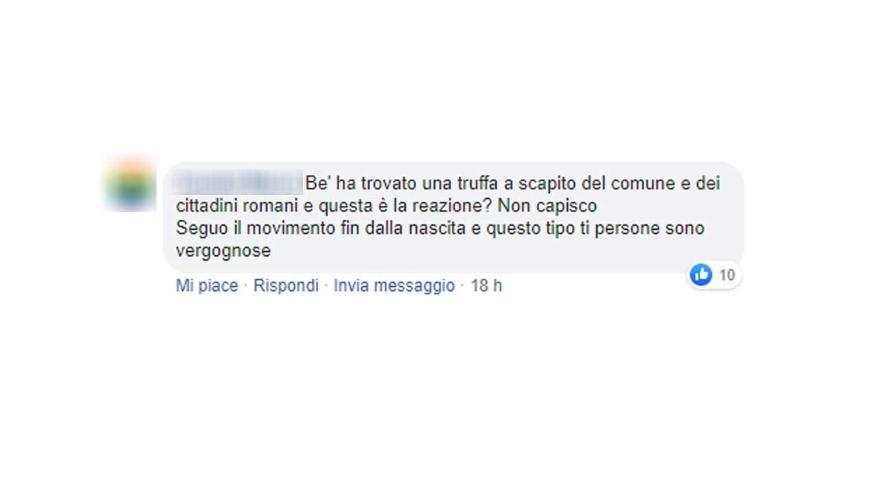 Gli screen di alcuni dei commenti che prendono le distanze da quanto accaduto a Filippo Roma