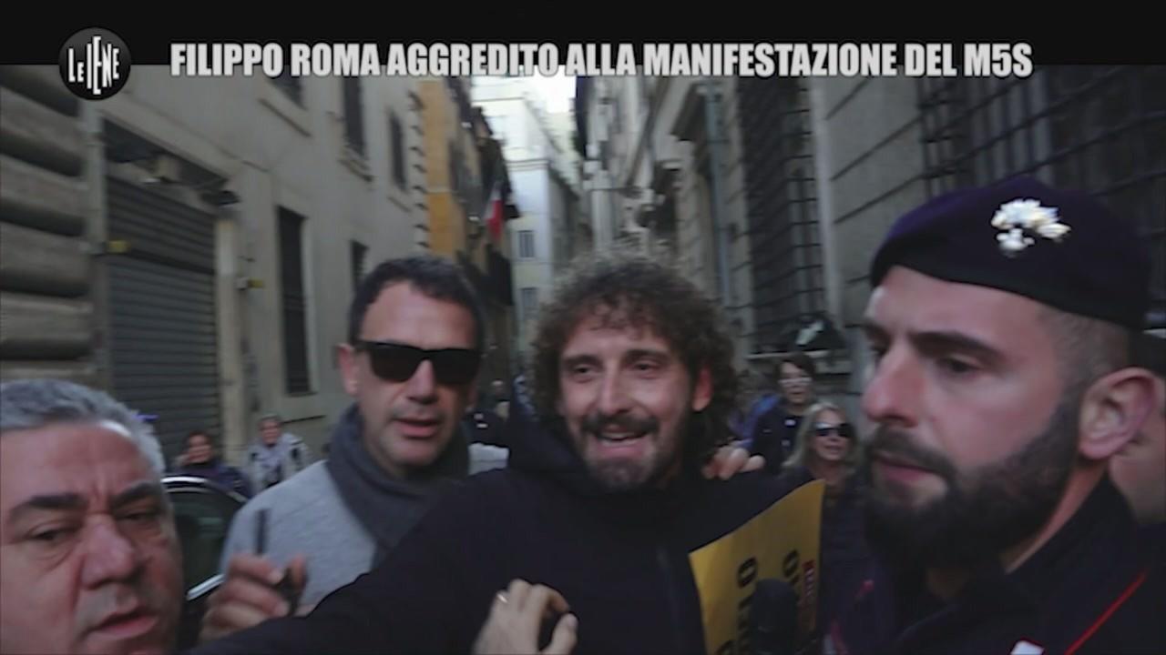 aggredito Filippo Roma manifestazione m5s