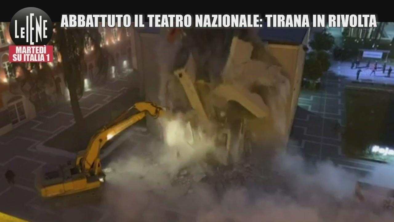 ruspe abbattono teatro nazionale tirana