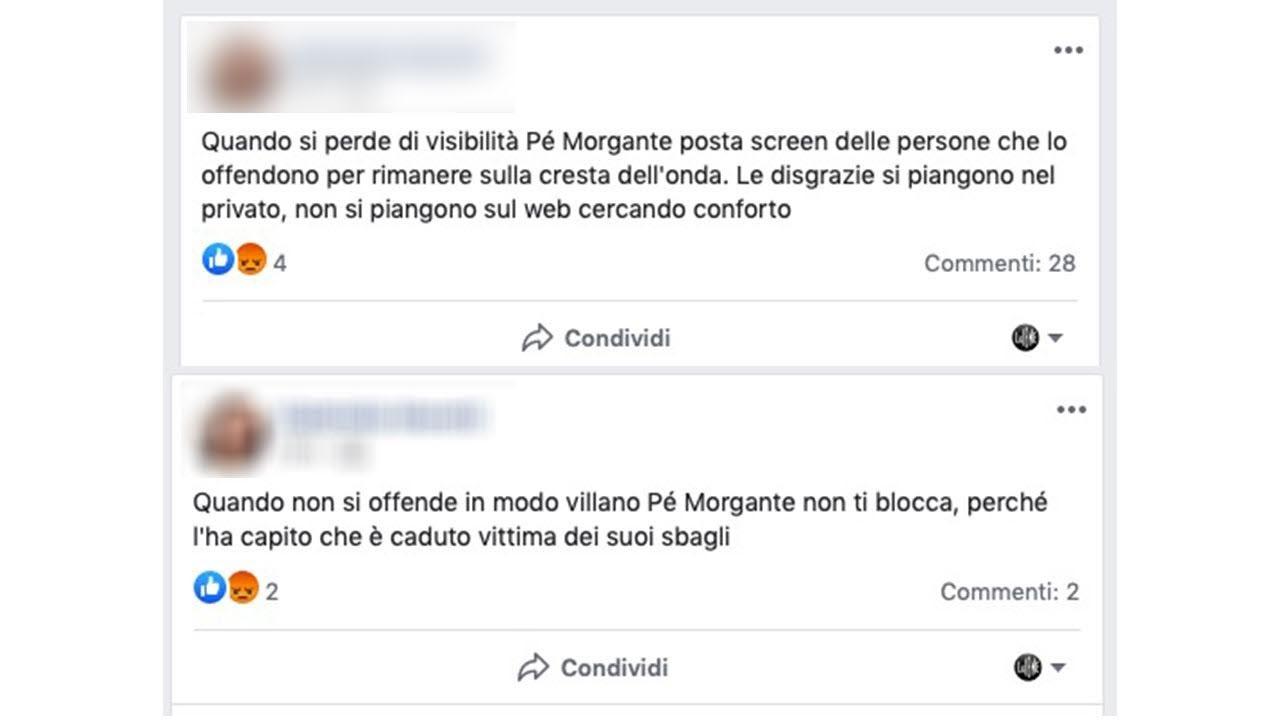 I messaggi contro Giuseppe Morgante
