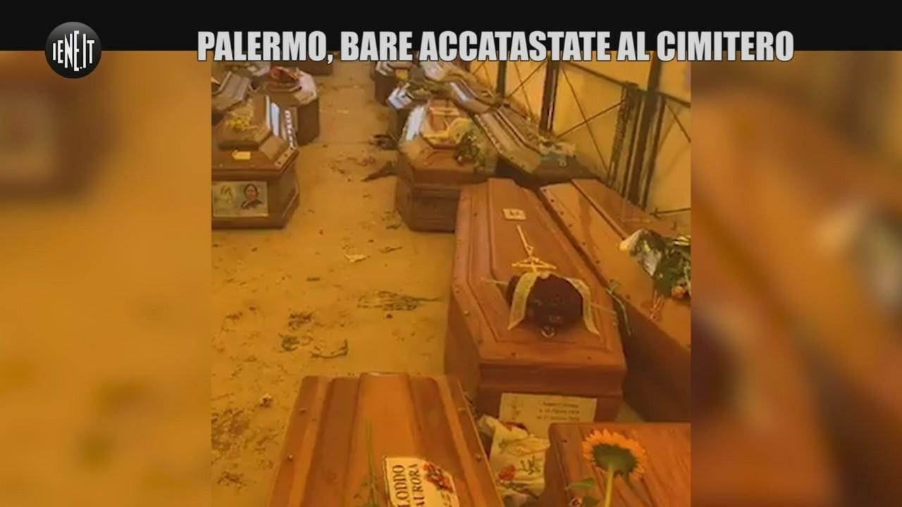 Palermo bare accatastate cimitero