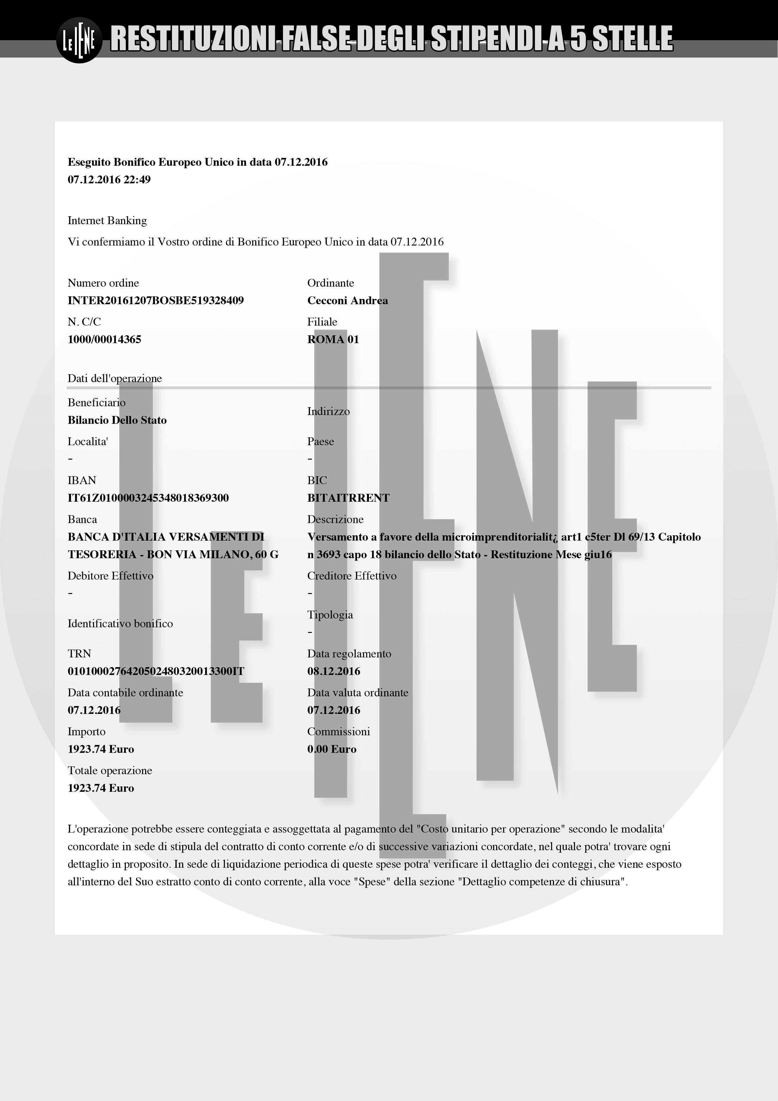 """I bonifici """"incriminati"""" dei parlamentari M5S Andrea Cecconi e Carlo Martelli"""