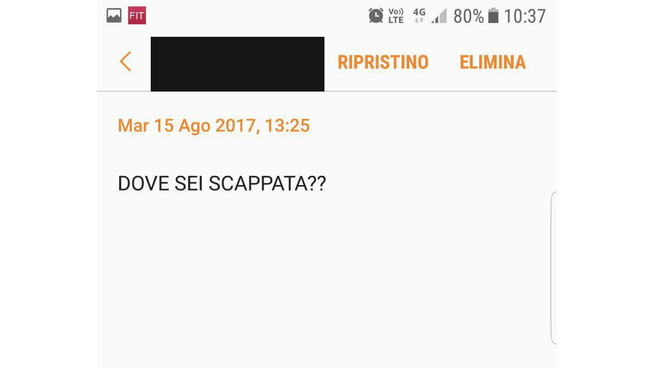 I messaggi che Ljuba riceve dal suo ex compagno